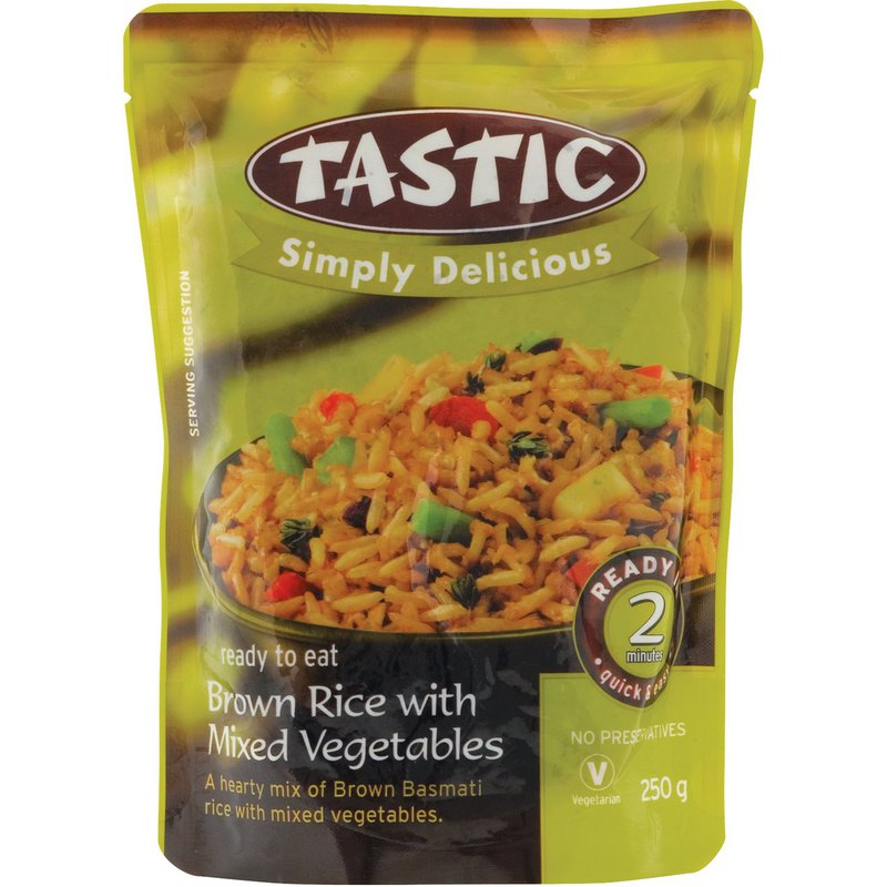 Tastic Simply Delicious RTE Rice - Brown Rice with Mixed Vegatables 250g